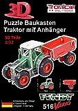 Tronico 30010 - 3D Puzzle Baukasten - Traktor Fendt 516 Vario mit Anhänger, Maßstab 1:32, grün, 58 Teile