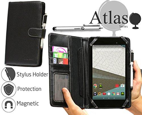 Navitech Schwarz 7 Zoll bycast Leder Folio Case / Cover / Hülle mit Stylus für das HP 7 G2 Tablet / HP Stream 7 Tablet