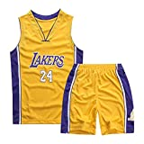 Mimiga Tuta Sportiva per Divisa da Basket No. 24 Kobe Bryant Ricamata da Basket per Bambini