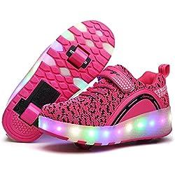 Pisahuevos Zapatillas con ruedas, Niños Niñas Led Luz Parpadea Zapatos (EU 33, Rosado 1)