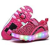 Schuhe mit Rollen für Kinder, Mädchen Junge LED Rollschuhe, Skateboard Turnschuhe Schuhe mit Licht (EU 29, Pink 2)