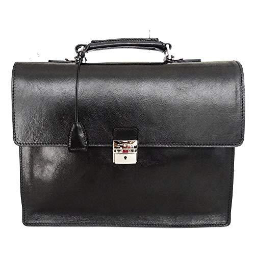 The Bridge Cartella Ventiquattrore Briefcase con tracolla borsa patta 100% pelle uomo nero 40x31x10 Cm 46252701