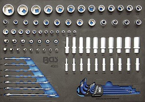 BGS 4020 3/3 Werkstattwageneinlage: Steckschlüsseleinsätze etc. in Zollgrößen, 90-tlg.