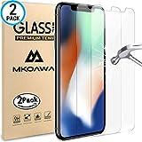 MKOAWA iPhone X Panzerglas Schutzfolie, [2 Stück] gehärtetem Glas Displayschutzfolie 3D Touch 0,25 mm Displayschutzfolie Glas für Apple iPhone X/iPhone 10 (2017)