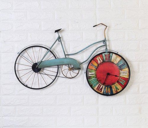 Relojes de pared retro de estilo americano grande país sala de estar Reloj de pared decorativo de bicicleta hierro creativo