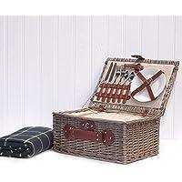 Crema Per 2Persone da Picnic & Verde Coperta da picnic per 2persone con vano refrigeratore integrato & accessori - Mothers Day Piastra