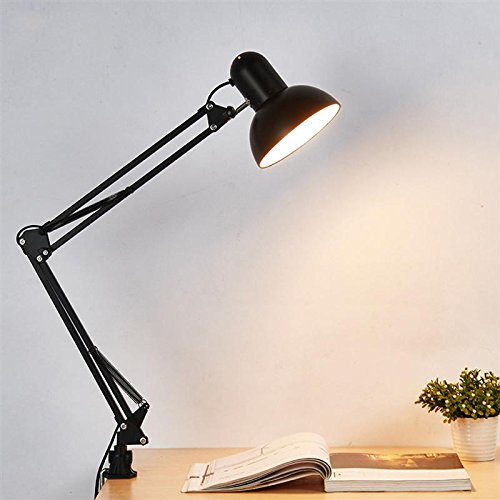 Glitz Clamp Adjustable Multipurpose Metal Mobile Desk Lamp (Black)