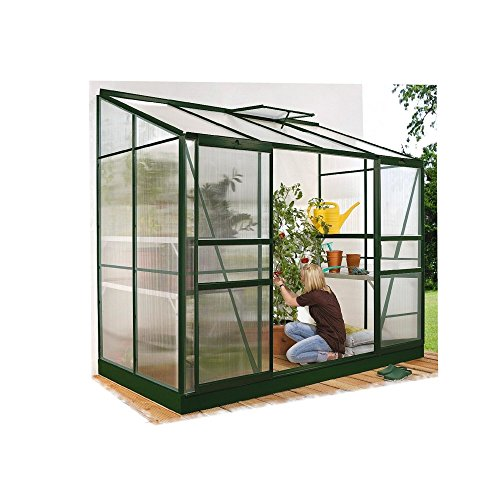 Ida 5200 Alu-Anlehngewächshaus grün HKP 6 mm 5,2 m² mit Fundament