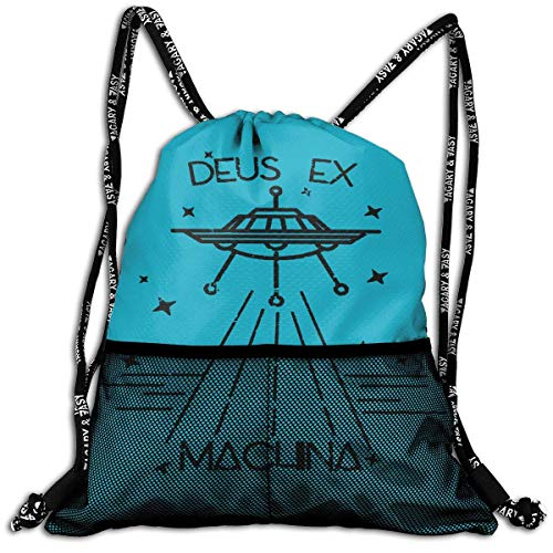 ziHeadwear Deus EX Machina Drawstring Bag Sport Gym Sack Bundle Backpack Daypack for Men and Women Outdoor Shopping Satchel Rucksack Ex-bundle