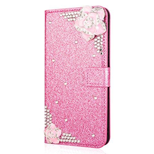 Kucosy Galaxy A8 2018 Diamant Hülle Luxury Bling Glitzer Handyhülle Sparkle DIY Strass PU Leder Handytasche mit Magnet Kartenfächer und Standfunktion für Galaxy A8 2018 - Kamelie Rosa