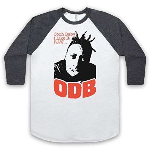 Inspiriert durch ODB Shimmy Shimmya Unofficial 3/4 Hulse Retro Baseball T-Shirt Weis & Dunkelgrau