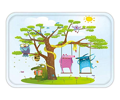 RAINNY Doormat Cute Summer Animals Friends Playing Under The Tree Swinging Reading Colorful Happy Childish 23.6 W X 15.7 W Inches (De Happy Tree Friends Halloween)