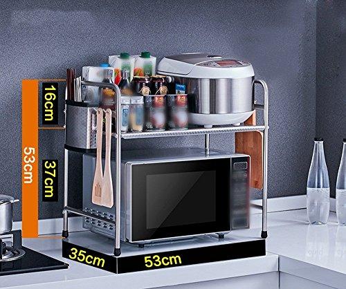 GRY 304 Edelstahl Küchenregale Mikrowelle Regale Boden Doppelbett Tisch Gewürze Rack Lagerregale,35 * 53 * 53 cm