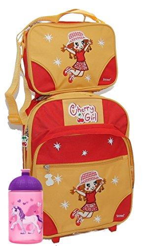 STEFANO Kinder Reisegepäck Bärchen Funny Skater Cherry Girl 2 teiliges Set Trolley Koffer Tasche mit Kühlfunktion -präsentiert von RabamtaGO®- - Cherry Bar Set