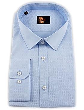 Seidensticker Herren Langarm Hemd UNO Super Slim blau / weiß strukturiert 674976.12