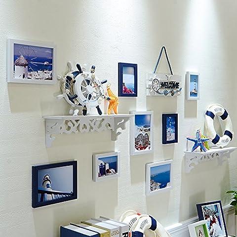 HJKY Photo Frame Wall Set Simple photo moderne de style européen décoration murale cadre photo mur cadre créatif cadre murale salon salle à coucher photo mur, 8D blanc bleu