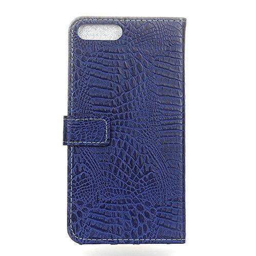 Krokodil Textur Premium Ledertasche Brieftasche Stand Pouch Case mit Magnetverschluss für Asus Zenfone 4 MAX ZC554KL ( Color : White ) Blue