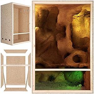 [Gesponsert]Repiterra Hoch-Terrarium aus Holz 60cmx120cmx60cm mit Seitenbelüftung aus OSB Platten mit Floatglas