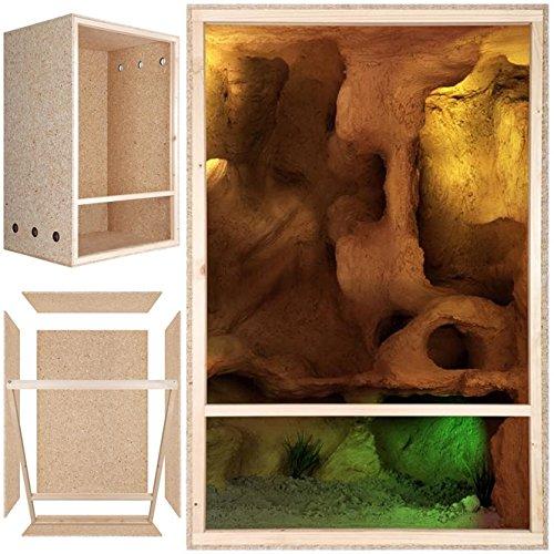 Repiterra® Hoch-Terrarium aus Holz 60cmx120cmx60cm mit Seitenbelüftung aus OSB Platten mit Floatglas