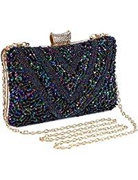 654d00357 Bolso de Noche Bolso de Hombro Mujer Glitter Diamond Hard Shell Clutches  para Boda,Fiesta,Baile, Bolsos de…