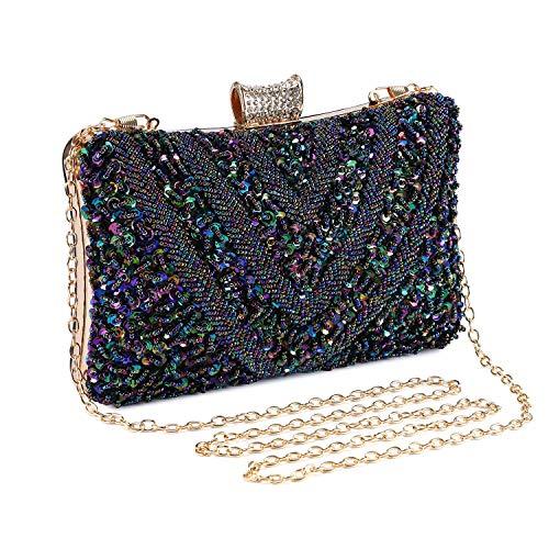 Perlen Abendtasche-clutch (Abendtasche Damen Perle Clutch Bag Kette Shiny Pailletten Handtasche Klein Umhängetasche für Hochzeit Party - Pfau dunkelblau)