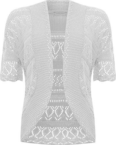 WearAll - Grande taille crochet tricoté bolero gilet top à manches courts - Hauts - Femmes - Tailles 48 à 54 Gris Clair