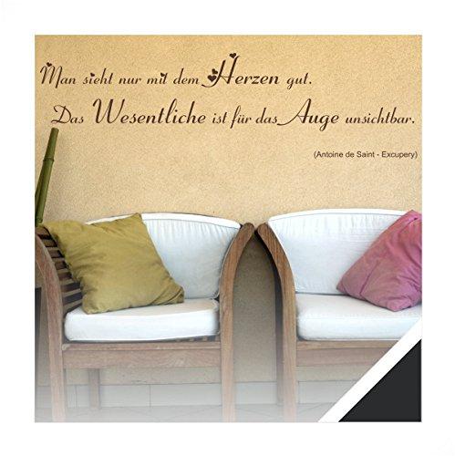 Exklusivpro Wandtattoo Spruch Wand-Worte Man sieht nur mit dem Herzen gut. Das Wesentliche ist für das Auge unsichtbar. inkl. Rakel (zit06 schwarz) 120 x 26 cm mit Farb- u. Größenauswahl