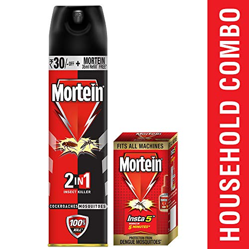 Mortein 2-in-1 Insect Killer Spray- (Red+Black) - 425 ml with...