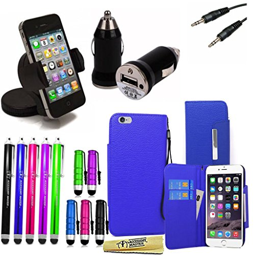 Accessory Master 15-in-1 pu Leder Flip Buch Fall Hülle, Displayschutzfolie, 10 Farbe Stylus, Double Adapter Jack auf Stereo-Stecker-Kabel (3,5 mm), Kfz-Ladegerät, universal Kfz-Autohalterung für Apple iPhone 6g Funda azul