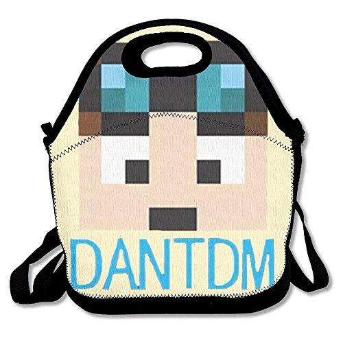 DanTDM Mochila para el almuerzo con aislamiento, con cremallera, asa de  transporte y correa para el hombro para adultos o niños, color negro