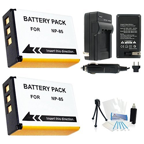 2-Pack Fuji NP-85 High-Capacity Replacement Batteries with Rapid Travel Charger for FujiFilm FinePix S1 SL1000 SL305 SL300 SL280 SL260 SL240 Digital Cameras - UltraPro BONUS INCLUDED: Camera Cleaning Kit Camera Screen Protector Mini Travel Tripod  available at amazon for Rs.4637