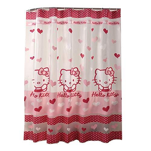 CL- Duschvorhang Badezimmer wasserdicht Verdickung Mehltau niedlich Hello Kitty Bad Trennwand Vorhang transluzent wasserdicht Vorhang 1800X1800mm Duschvorhang