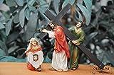 Weihnachtskrippen-Zubehör-Set mit LED-Beleuchtung Station 5+6-1 Simon von Zyrene trägt das Kreuz Mt 27,32 und Veronika reicht Jesus das Schweißtuch,- Passion Christi - für 9-10 cm Figuren