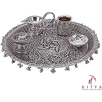 Silver Plated Pooja Thali Oxidized Silver Finish For Exclusive Gifts Diwali,New Year,House Warming, Wedding, Anniversary