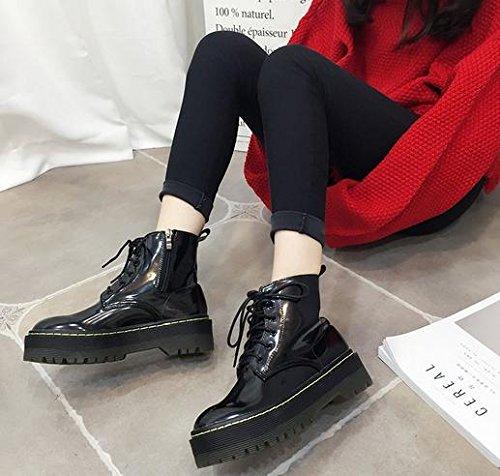 &ZHOU Bottes d'automne et d'hiver courtes bottes femmes adultes Martin bottes Chevalier bottes a24 Black