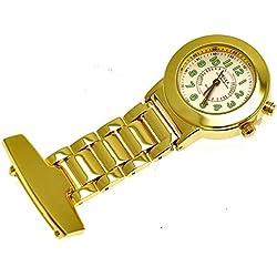 Ny London Damen Krankenschwesteruhr Pulsuhr Ansteckuhr Kitteluhr Schwesternuhr Pflegeuhr mit leuchtendem Ziffernblatt in Gold aus Metall