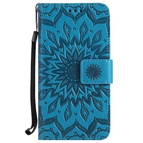Uposao Compatible avec Huawei Honor 6 Coque Cuir PU Soleil Fleurs Mandala Motif Folio Flip Case Cover Pochette Portefeuille à Rabat Magnétique porte-cartes Étui Housse de protection