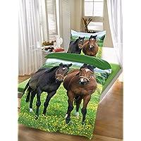 """'BRAND sseller–Cadena de Diseño de Animales Reversible de cama de microfibra Set """"Caballo funda nórdica: 135X200cm almohada: 80x80con cremallera, microfibra, caballos, 80x80 - 135x200"""