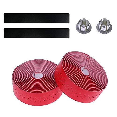 Volwco Lenkerband aus PU-Leder für Rennräder, perforiert, komfortabel, 2 Stück (Schwarz, Weiß, Rot, Braun, Grün), rot -