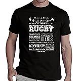 Tee shirt humour Règle RUGBY - 100% Coton - Standard - Noir - S