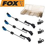 FOX MK3 Swinger 3er Set Bissanzeiger - Pedelbissanzeiger zum Karpfenangeln, Farbe: blau, verschiebbares Gewicht & einfach Montage!
