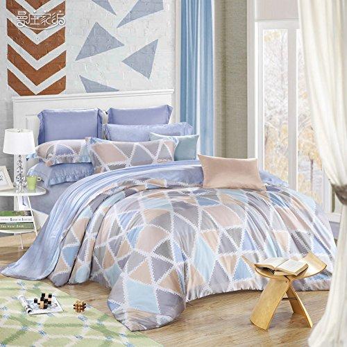 Semplice minimalista stile Tencel disegno geometrico Set di biancheria da letto Mescolanza/miscele/filato misto(1Copripiumini 1Lenzuola 2Federe)-A (Filato Satin Stampe)