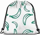 June flower Green Banana Design Interiors Drawstring Bag Backpack Gym Dance Bag Reversible Flip Sequin Bling Backpack for Hiking Beach Travel Bags 14x17 Inches