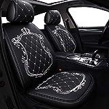 Skysep Coprisedili per Auto Crown, Sedile Unisex Completamente circondato, sedili in Pelle Invernale per Auto, Pelle PU e Tessuto Traspirante 3D (Nero Bianco)