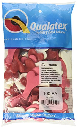 """100 x 6/"""" Heart Love shaped party balloons in assorted colours"""