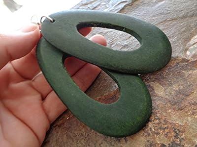 ? Boucles D'oreilles GÉant Bois Vert Et Oreilles Bois Naturelles Ovales Longues Avec Trou ? Boucles D'oreilles Uniques