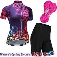 LIN-Reliable Ropa de Ciclismo para Equipo de Mujer Pantalones Cortos de Manga Corta Transpirables de Secado rápido Bicicleta Traje de Montar en Bicicleta de montaña Red-XXXL