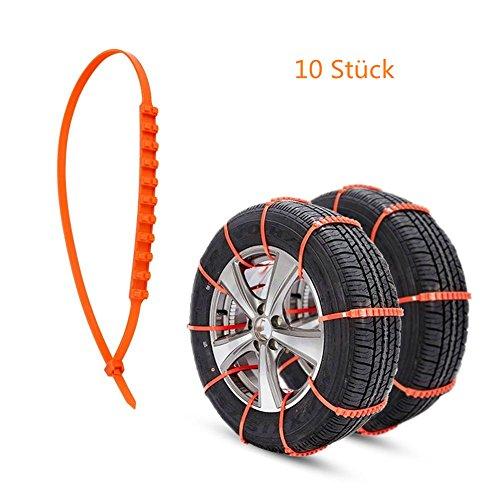 Koreyoo Schneereifen Ketten Antirutsch Reifen Schneeketten Auto Reifen Kabelbinder Anti-Rutsch Kette für Auto / SUV / LKW Anti Rutsch Kette Einfache Installation Universal Fit (Schneeketten Für Kleine Reifen)