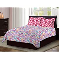 Bombay Dyeing Axia Collection Flat Double Bedsheet Set, Red, 220 X 240cm, 3951 B