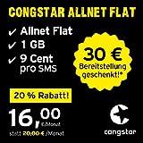 congstar Allnet Flat [SIM, Micro-SIM und Nano-SIM] monatlich kündbar (16,00 Euro/Monat, 1 GB Datenflat mit max. 21 Mbit/s, Allnet Flat in alle dt. Netze) in bester D-Netz-Qualität preiswert